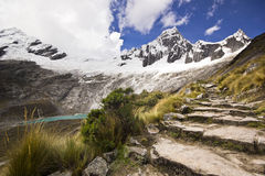 Snow-covered Andes mountains from stone stair of path Royalty Free Stock Photos
