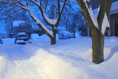 Snow Covered Apartment Courtyard Royalty Free Stock Images