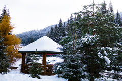 Snow-covered arbor in the mountains Stock Photos