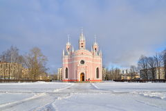 Snow-covered area in front of Chesme Church on a Sunny day in wi. Nter Royalty Free Stock Photography