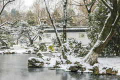Snow covered The art world of Red Mansions Royalty Free Stock Photos