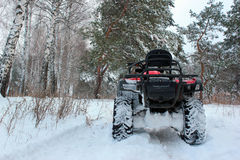 Snow covered ATV in winter forest Stock Images