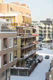 Snow-covered balconies buildings Pomorie, Bulgaria, winter Stock Image