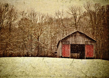 Snow covered barn. Illustration of an old Appalachian tobacco barn in the winter on the side of a mountain Stock Photography