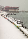 A snow-covered bay Pomorie, Bulgaria royalty free stock photography