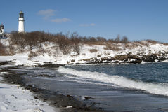 Snow Covered Beach By Lighthouse Royalty Free Stock Image