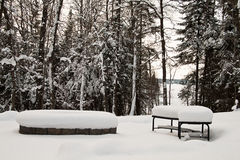 Snow covered bench in winter Stock Image