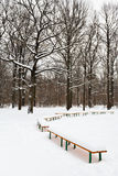 Snow covered benches on glade of city park Stock Images