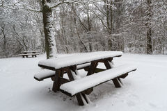 Snow covered benches and tables. Outdoors in a snowy forest Royalty Free Stock Photo