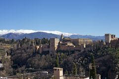 Snow-Covered Berg, Granada Royalty-vrije Stock Fotografie