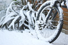 Snow Covered Bicycle Royalty Free Stock Images