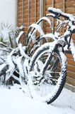 Snow Covered Bicycle Royalty Free Stock Photos
