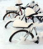 Snow covered bicycles royalty free stock photography