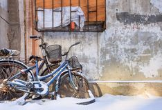 Snow covered bicycles against a textured wall in a snow covered Changchun, China. Snow covered old bicycles against a textured wall in a decayed environment Royalty Free Stock Photos