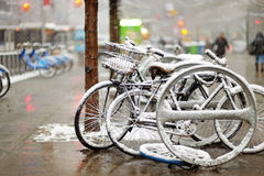 Snow Covered Bicycles In New York Royalty Free Stock Photography