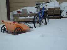 Snow covered bike. This is a picture of my bike stuck in the snow stock images