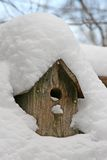 Snow covered bird house. A rustic wooden bird house covered with several inches of snow Stock Photography