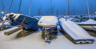 Snow Covered Boats Stock Photography