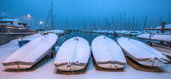 Snow Covered Boats II Stock Photography