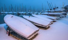 Snow Covered Boats III Stock Photos