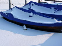 Snow-covered boats in a lake Stock Image