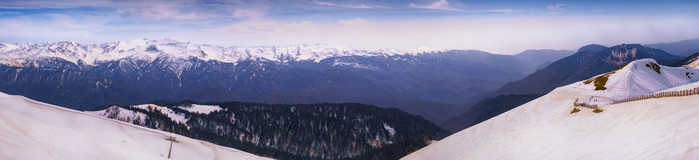 Snow-covered bovenkanten van bergenpanorama royalty-vrije stock foto's