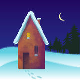 Snow-covered brick house in the winter Stock Image