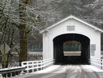 Snow Covered Bridge. Goodpasture covered bridge in lane county oregon during the winter Stock Photography