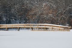 Snow Covered Bridge Royalty Free Stock Images