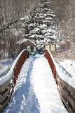 Snow covered bridge over stream Stock Photos