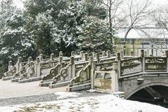 Snow covered bridge Royalty Free Stock Photography