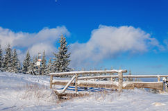 Snow-covered bridge on the tourist trail Stock Photography