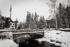 A snow covered bridge in Vail, Colorado during the winter. royalty free stock photography