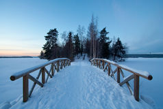 Snow covered bridge in Winter Royalty Free Stock Photos