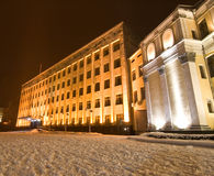 Snow-covered build in city center. Of city Stock Photography