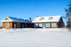 A snow covered cabin royalty free stock photography