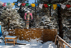 Snow covered cafe at Yumthang Valley. A snow covered wooden made tourist cafe decorated with local customs at Yumthang valley in Sikkim, India which remain Royalty Free Stock Photo