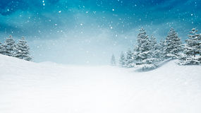 Snow covered calm winter landscape at snowfall. Several trees covered under snow 3D illustration Royalty Free Stock Photography