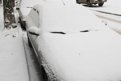 Snow-covered car Royalty Free Stock Photos