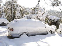 Snow covered car. Sorrounded by snow covered trees. It was during the big snow that took place in Barcelona on 8th march Royalty Free Stock Photography