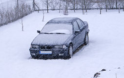 Snow covered car Stock Photo