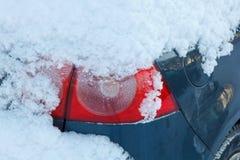 Snow covered car light Stock Photos