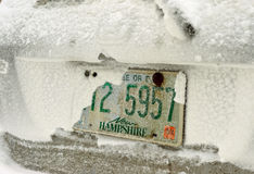 Snow covered car. In New Hampshire Stock Photography