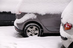 Snow covered car parked in streets of Zagreb Royalty Free Stock Images