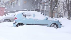 Snow covered car.snowstorm. Ukraine Kharkiv 03,012018 snow covered car snowstorm stock footage