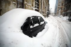 Snow-covered car Royalty Free Stock Photo
