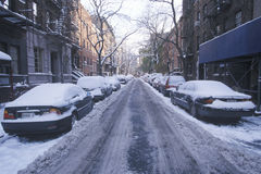 Snow covered car in streets of Manhattan, New York City, NY after winter snowstorm Royalty Free Stock Photography