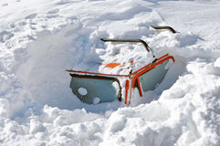 Snow covered car. In the winter blizzard Stock Photo