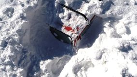 Snow covered car at winter stock video footage