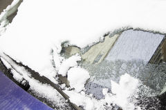 Snow covered car in winter Stock Image
